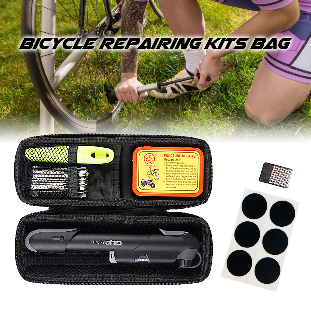 Bike Repair Kit Portable Box Tire Fixing Kit Bag With Tire Pump Multifunctional Tools Tire Tube Patches Repair Kit For Bicycle