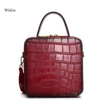 Women mini bag Flap genuine leather shoulder bags for woman Rivet tassel alligator pattern vintage retro style ladys sac