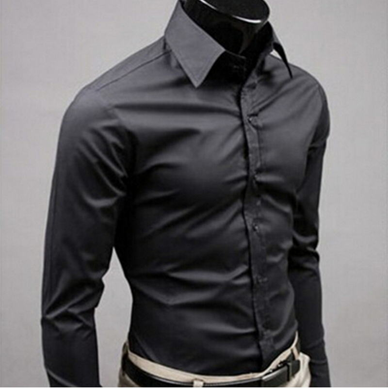 2019 New Men's Fashion Casual Solid Candy Color Long Sleeve Slim Fit Dress Shirt Top