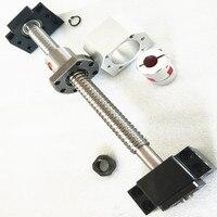 C7 Ball screw China SFU1204 with BK/BF10 end machining 500mm 1 pc + ball bearing nut SFU1204 1pc + supporter + coupling