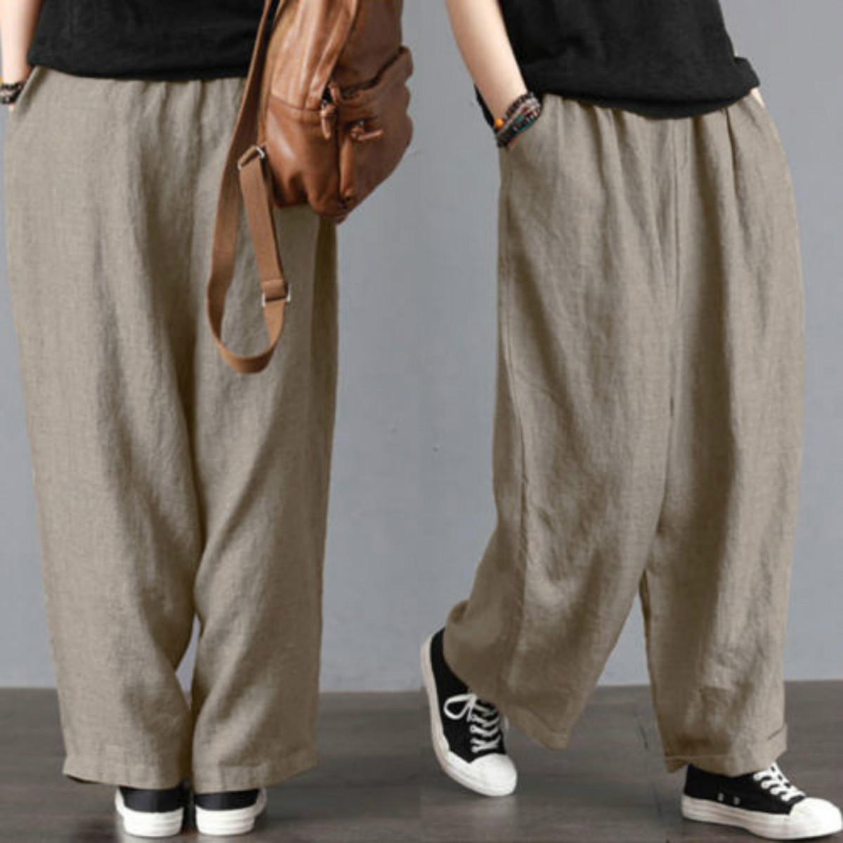 2383ee54dfa4b Wide Leg Pants New Brand Men Loose Wide Leg Pants Cotton& Linen Casual  Bloomers Trousers Harem Plus Size ~ Free Delivery July 2019