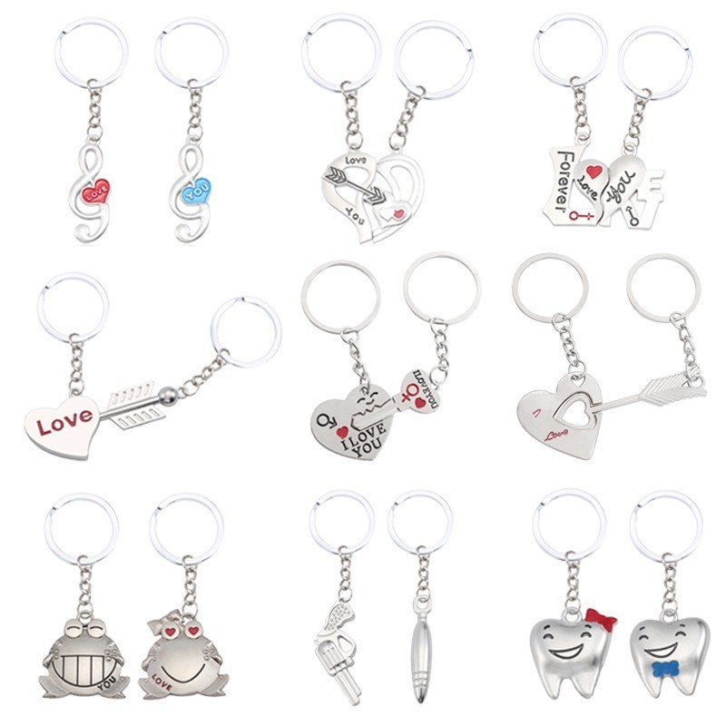 Fashion Couple Jewelry Personality Men And Women Heart Stitching Keychain Simple Metal Pendant Valentine's Day Gift Jewelry