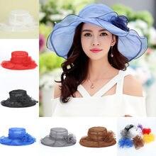 8 colores verano sol sombrero mujeres Organza sólido Brim Floppy Summer  Beach Sun Hat Fold Cap Kentucky Derby té sombrero de la . 16fa1b34aab