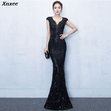 Xnxee High Quality Women Elegant Black Sequined Short Sleeve V-Neck Long Mermaid Party Dress