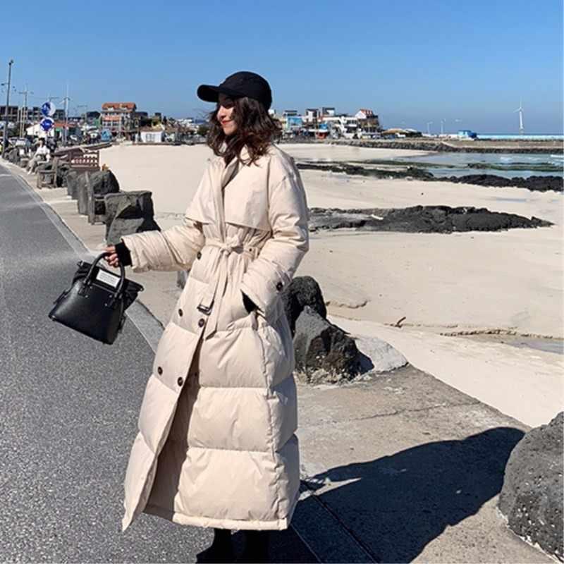 Zima trekking na świeżym powietrzu wysokiej jakości biały puch kaczy zarówno rząd klamra garnitur ołowiu kurtki kobieta długi fundusz pogrubienie