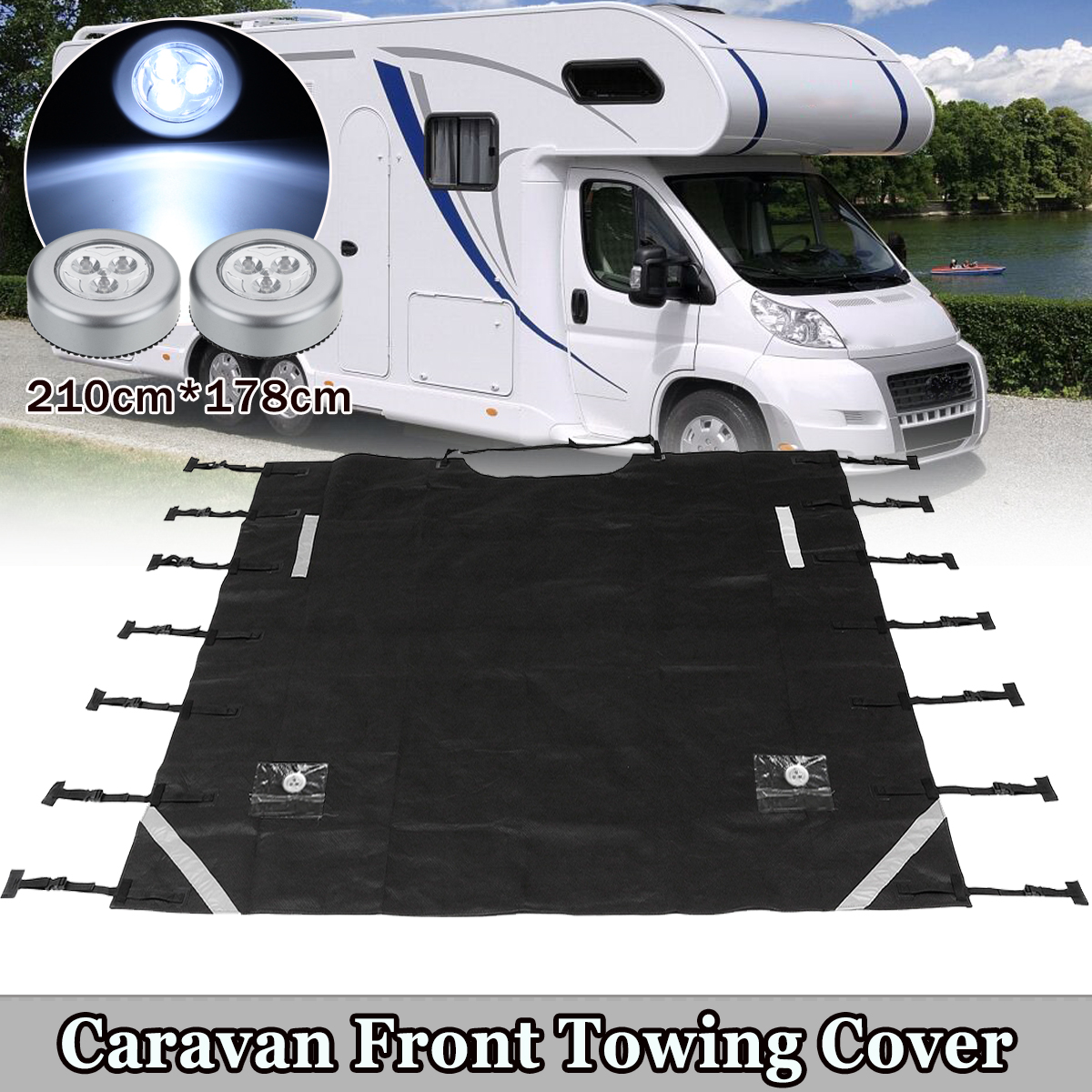 Universal Black Caravan Front Towing Cover Protector For RV Motorhome With LED Lights