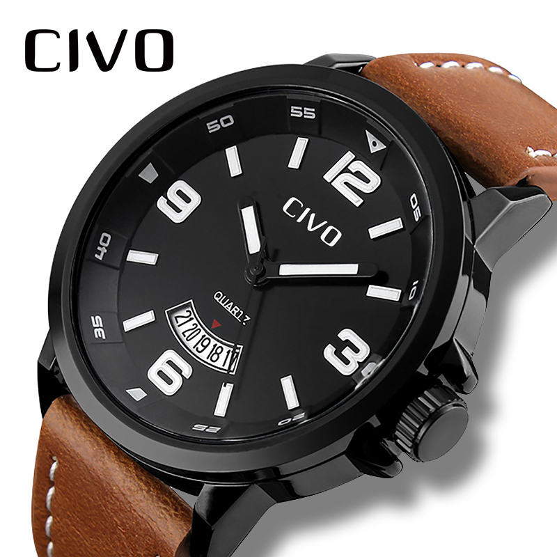 CIVO Mens Watches Waterproof Business Casual Simple Design Analogue Quartz Watch Date Calendar Wristwatch For Men Clock