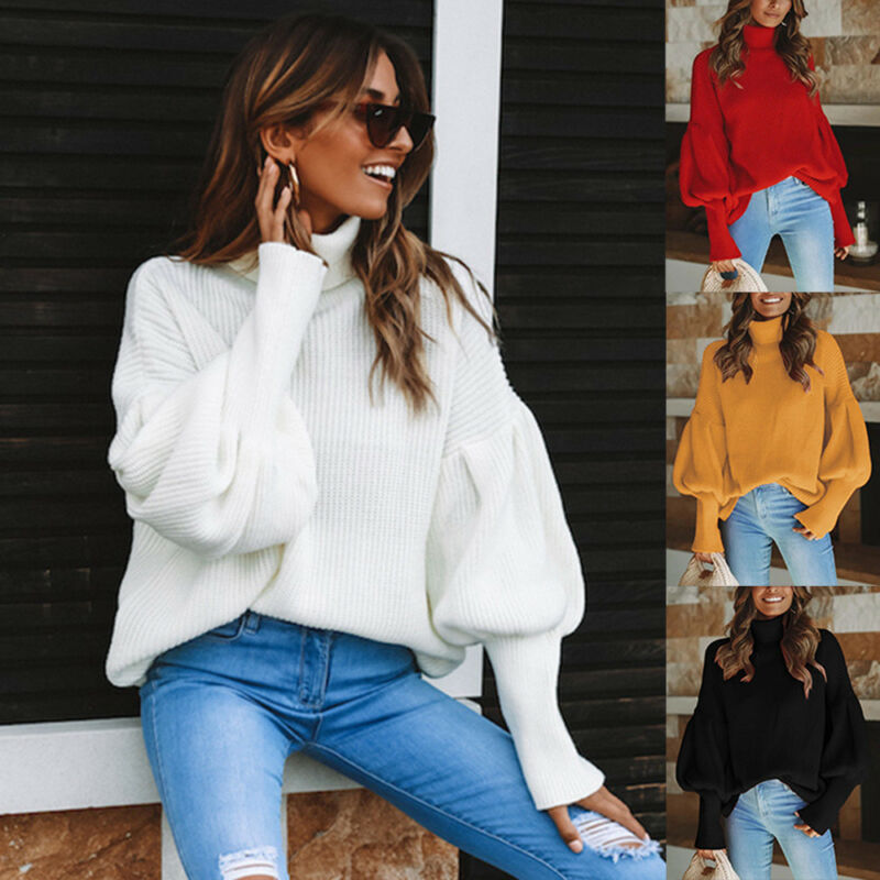 Women Long Loose Pullover Sweater Oversized Bat Sleeve Jumper Blouse Knitted Top Sweater Bat Long Sleeve Loose Jumper Blouse Top