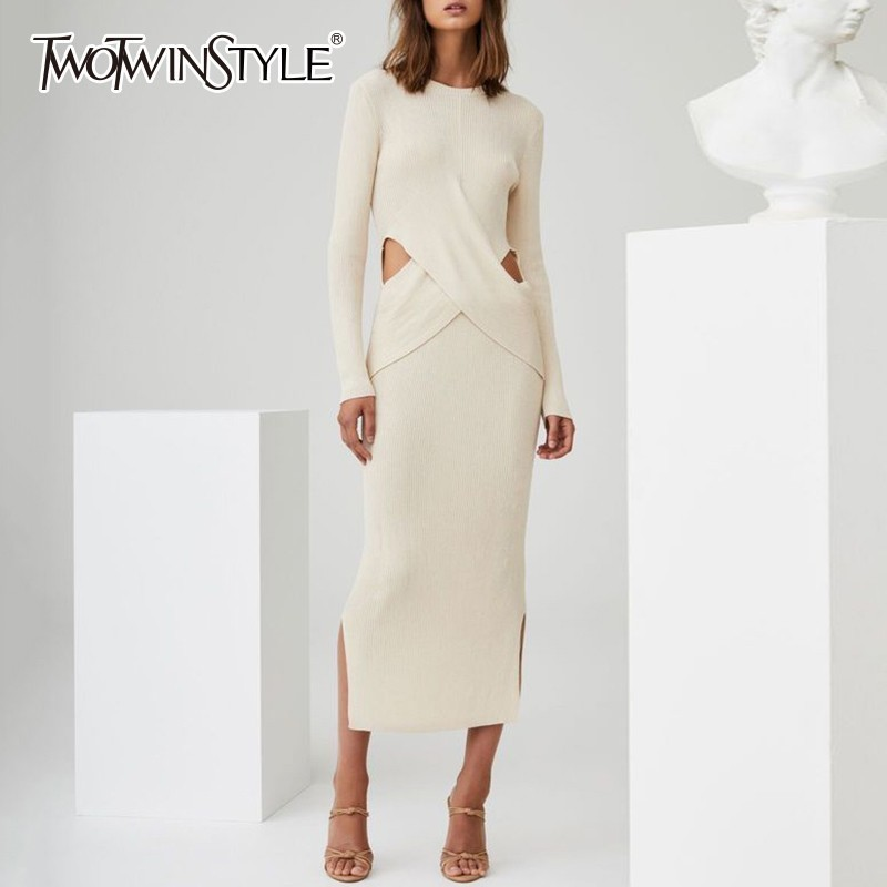TWOTWINSTYLE Knitting Dress Female O Neck Long Sleeve Hollow Out Waist Cross Dresses Women 2019 Spring