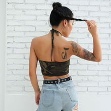 Camouflage Crop Top Strap Backless PU27