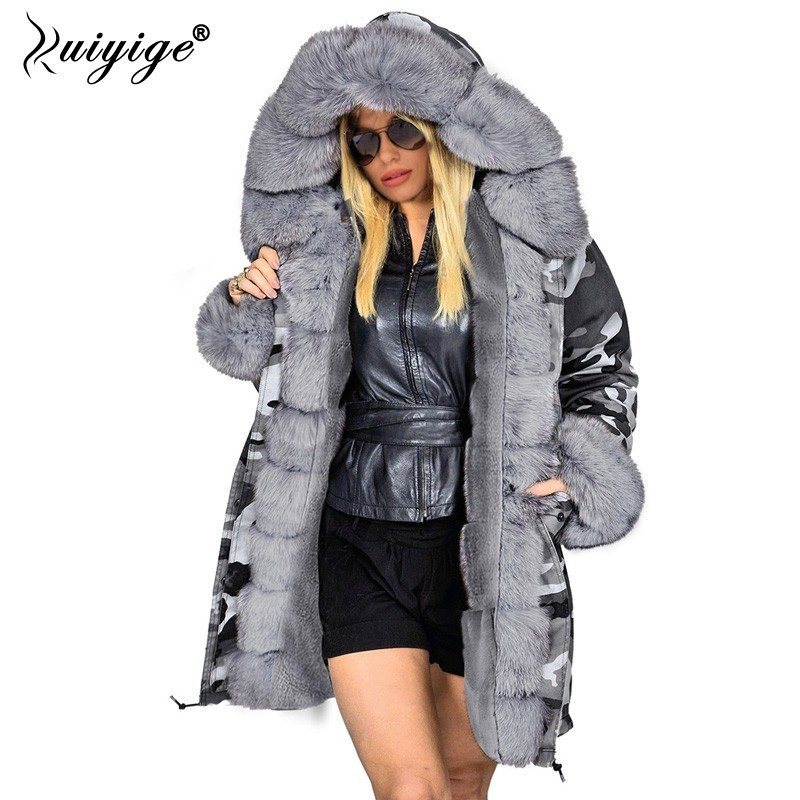 Ruiyige New Fashion Coat Winter Jacket Women Fur Hood   Parka   2018 Long Warm Cotton Jackets Outerwear Female Winter Coat Plus Size