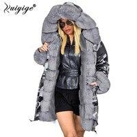 Ruiyige New Fashion Coat Winter Jacket Women Fur Hood Parka 2018 Long Warm Cotton Jackets Outerwear Female Winter Coat Plus Size