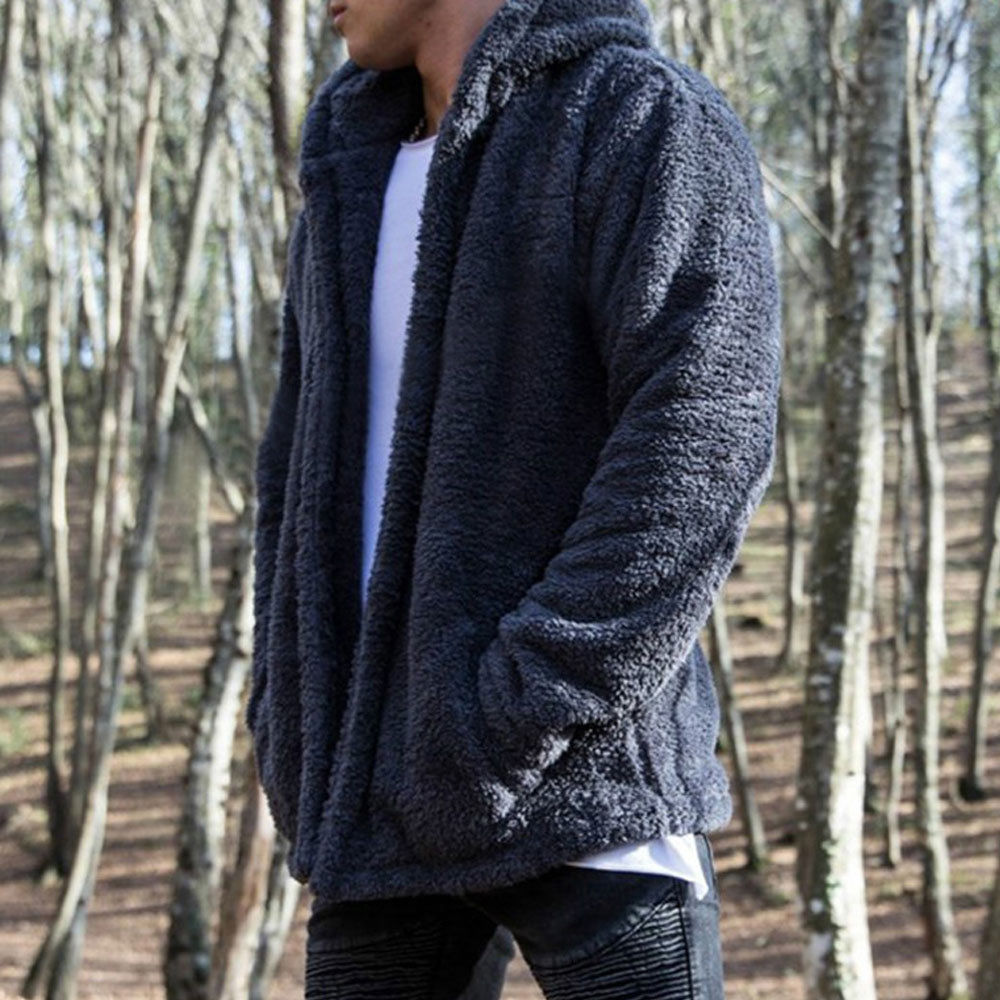 Mens Long Sleeve Hooded Hoodie Sweatshirt Winter Warm Fleece Fur Jacket Coat