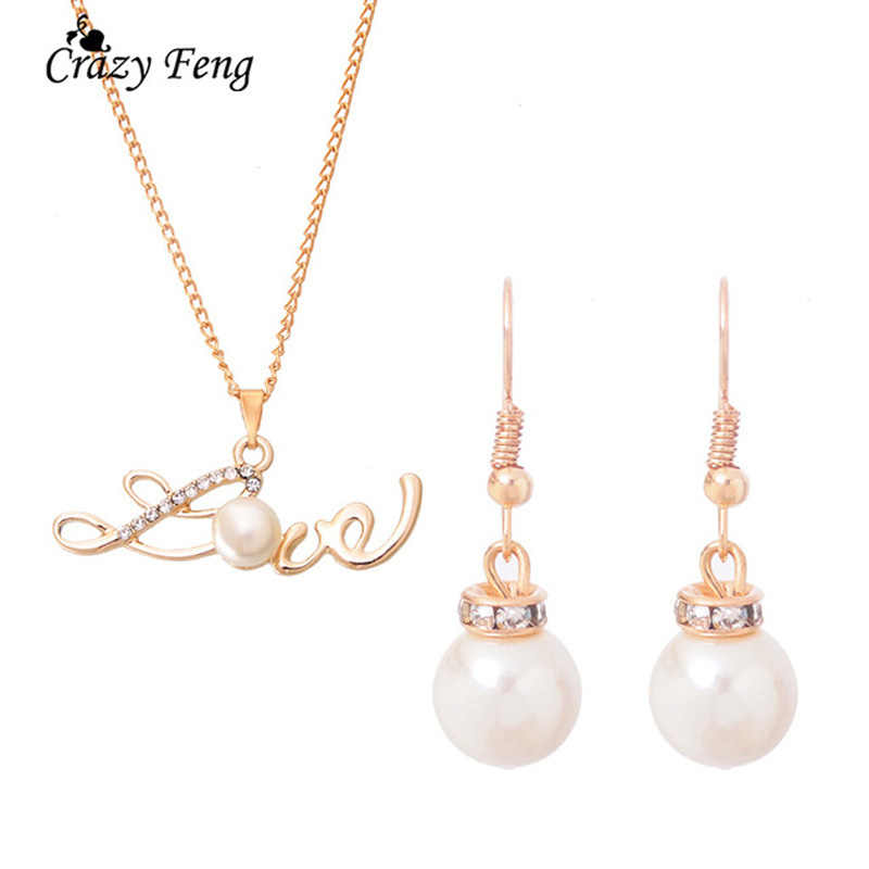 Christmas Gift   Romantic Love Pendant With Simulated Pearl Necklace Wedding Jewelry Pearl Sets Bridal Accessories