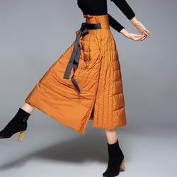 2018 зимнее Новое поступление пуховая юбка трапециевидной формы Женская модная длинная посылка Теплая юбка на утином пуху 20188003
