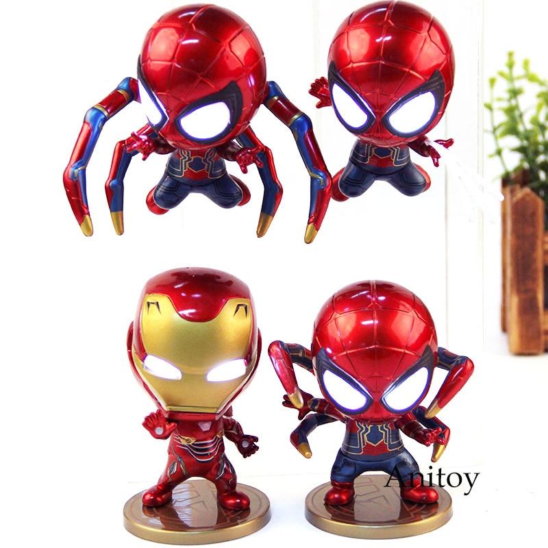 Avengers Infinity War Marvel Iron Man Spiderman Iron Spider Bobble Head Figure Action Model Toy With LED Light 4pcs/set