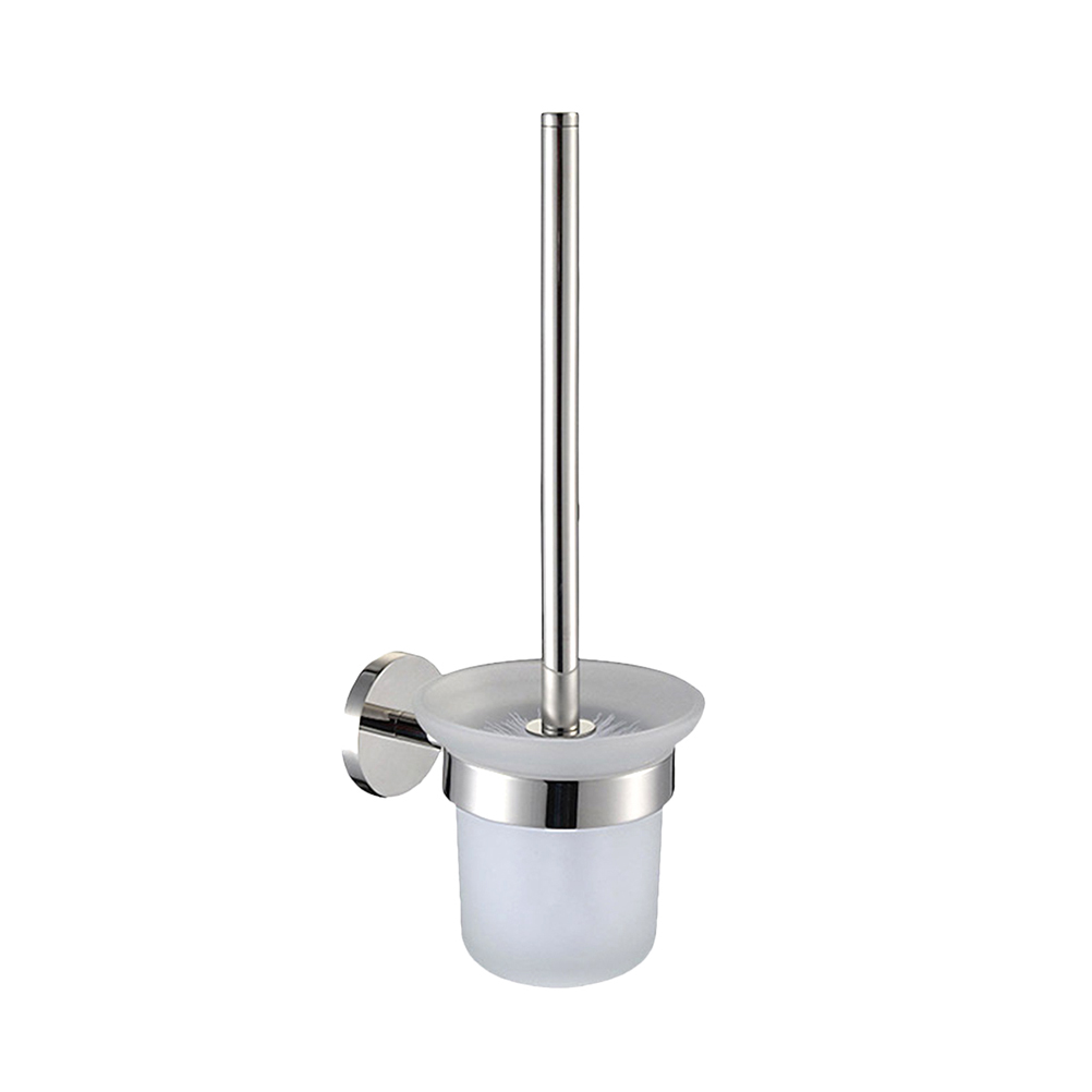 Toilet Brush And Holder Set Wall Mounted Stainless Steel Handle Glass Holder For Bathroom Hotel Shopping Center Accessories