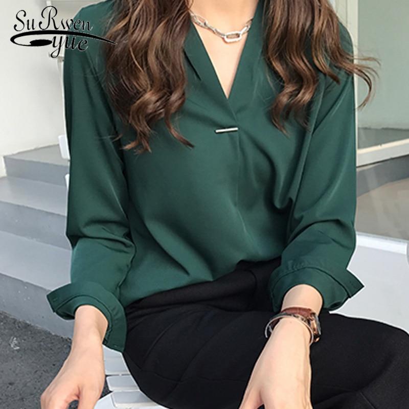 women clothing chiffon   blouse     shirt   3XL 4XL plus size women tops fashion woman   blouses   2019 new long sleeve women   shirts   1681 50
