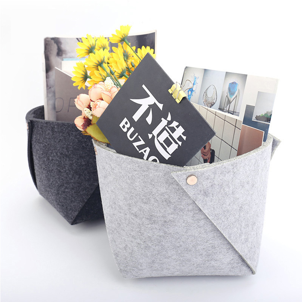 Nordic Felt Storage Box Basket Convenient Folding Small Storage Box Office Desk Home Supplies Organizer подставка для ручек