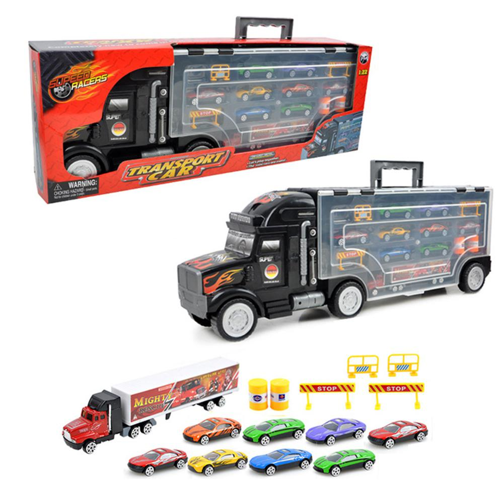 RCtown Truck Carrying Container Toy with 8 Piece Alloy Car Set Kids Toy Car Christmas Gift