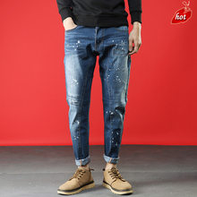 Jeans Men 2019 New Brand Fashion Solid Slim Fit Retro Hole Print Spray Paint Loose Straight Denim Pants Plus Size O8R2(China)