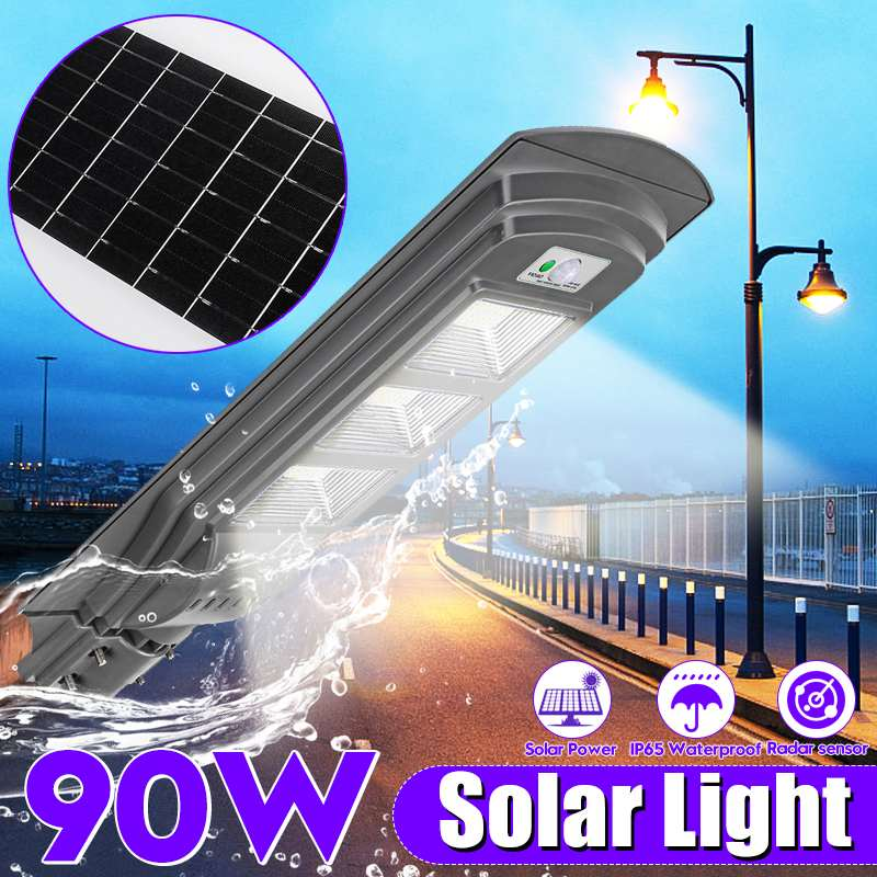 Waterproof Outdoor 90W LED Super Bright Wall Street Light Solar Powered Radar Motion+Light Control for Garden Yard StreetWaterproof Outdoor 90W LED Super Bright Wall Street Light Solar Powered Radar Motion+Light Control for Garden Yard Street