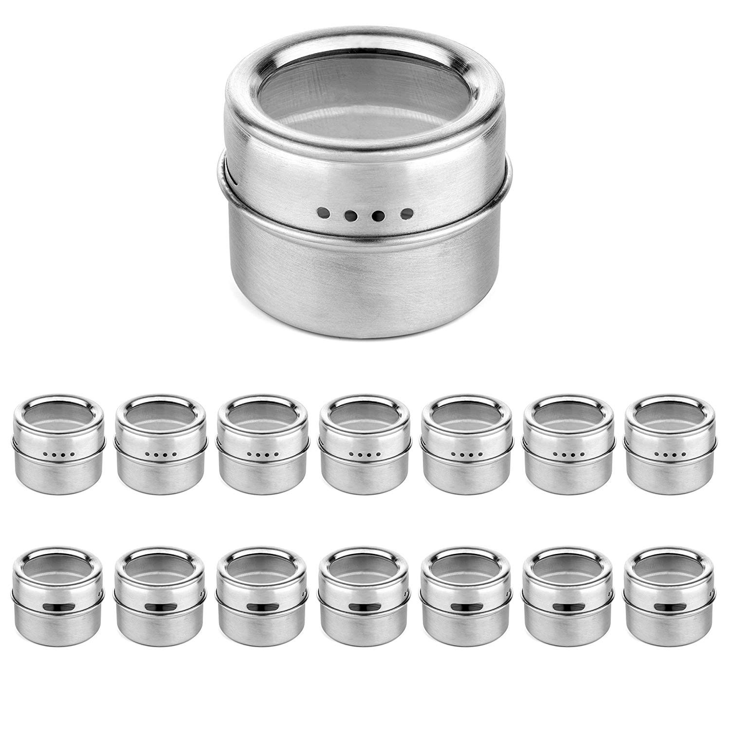 Botique-Magnetic Spice Jar With A Strong Transparent Top Cover. Stainless Steel Round Storage Spice Jar, Shake Or Flip, MagnetBotique-Magnetic Spice Jar With A Strong Transparent Top Cover. Stainless Steel Round Storage Spice Jar, Shake Or Flip, Magnet