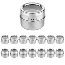 Botique-Magnetic Spice Jar With A Strong Transparent Top Cover. Stainless Steel Round Storage Jar, Shake Or Flip, Magnet