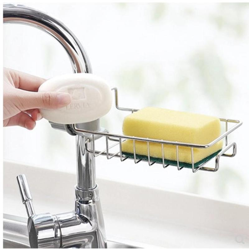 Faucet Drain Storage Rack Kitchen Sink Sponge Rag Bracket Rack  Kitchen Dishcloth Clip Shelf Drain Dry Towel Organizer