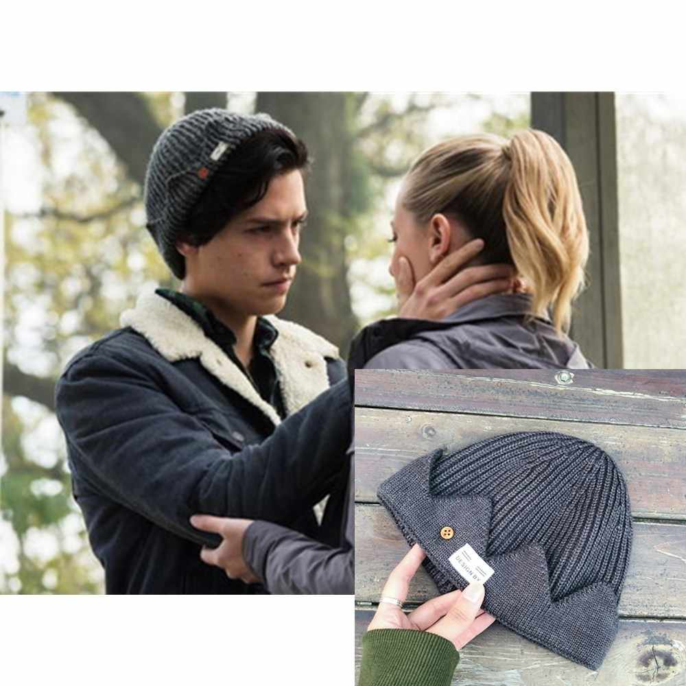 2019 New Riverdale Jughead Jones Cosplay Beanie Cap Knitted Hat TV Series PropsHat Crown Knitted Cap Men Women