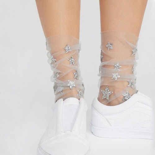 Baru Fashion Bintang Glitter Lembut Mesh Kaus Kaki Wanita Gadis Transparan Elastis Tipis Tipis Pergelangan Kaki Kaus Kaki Tulle Kaus Kaki Stoking Jala