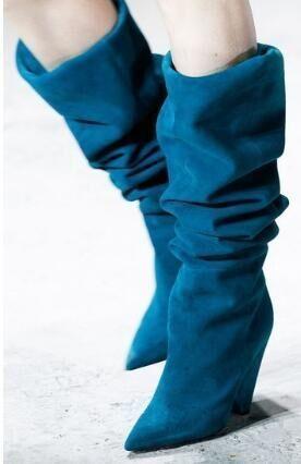 Lac Genou Bottes De D'hiver Réel Femme Bout Photo Haute As Bleu Chunky Femmes Pointu Photo Spike as Photos Talon F5xq57H