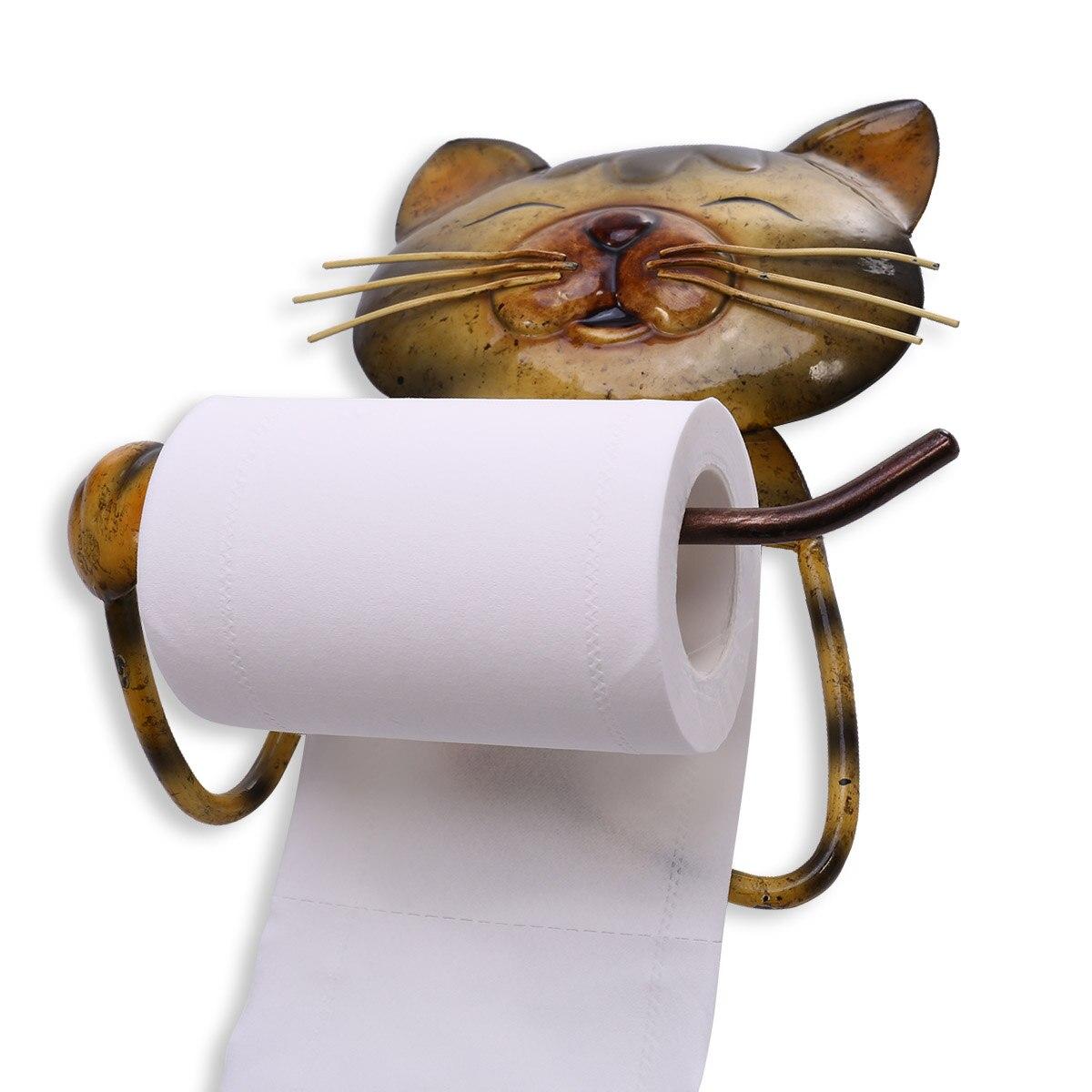 DemüTigen Katze Papier Handtuch Halter Vintage Gusseisen Hund Wc Papier Halter Stehen Handtuch Halter Stehend Bad Zubehör