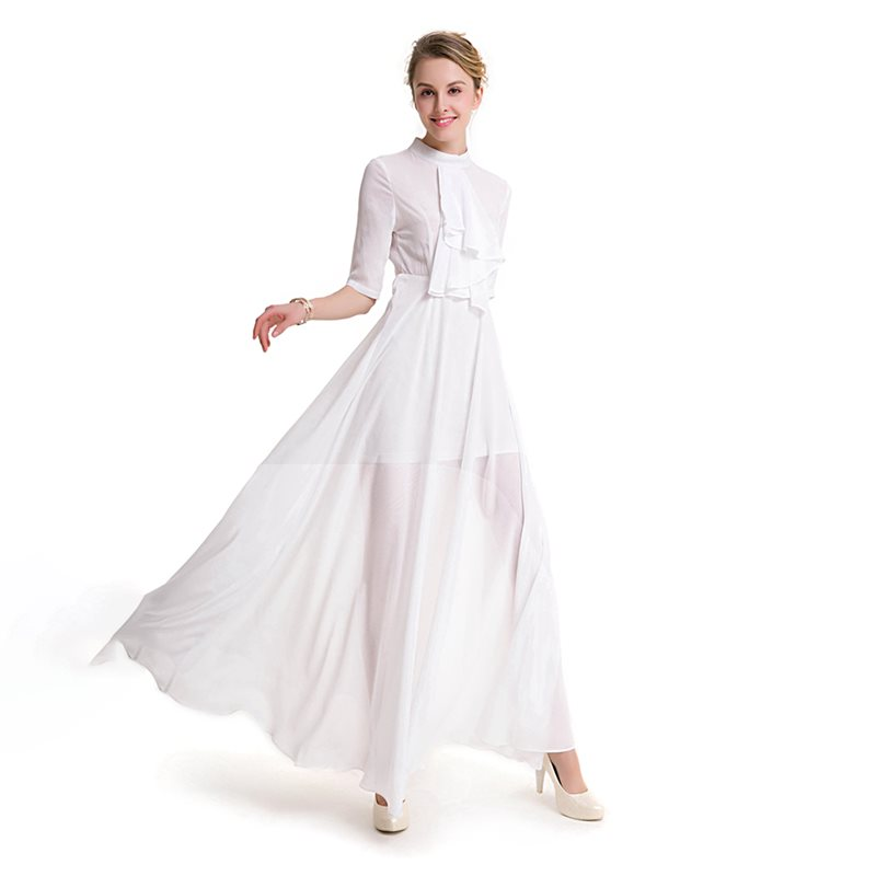 Aliexpress Com Buy Simple Elegant See Through Lace Part: Vintage Maxi Dress Women Spring 2019 Fashion White Sexy