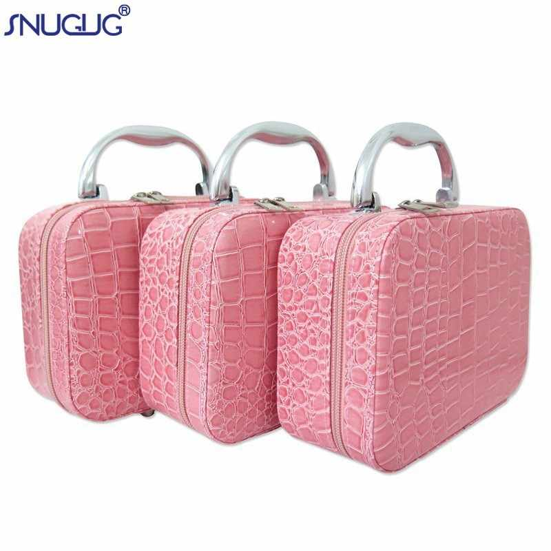 SNUGUG Small Mini Alligator Cosmetic Cases Beauty Case Cosmetic Bag Lockable Jewelry Box Travel Toiletry Organizer Suitcase