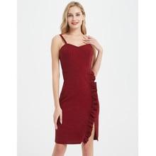 Uguest Women Sexy Dress Spaghetti Strap Backless Sleeveless Lady Ruffle Solid Fashion Dresses