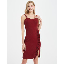 цена на Uguest Women Sexy Dress Spaghetti Strap Backless Sleeveless Lady Dress Ruffle Solid Fashion Dresses