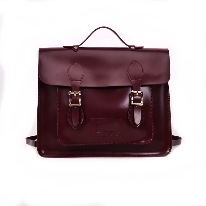 2019 England Style Women Pu Leather Handbag Men Retro School Satchel Bag For College Girl Vintage Leather Briefcase Shoulder Bag