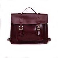 2019 England Style Women Pu Leather Handbag Men Retro School Satchel Bag For College Girl Vintage Leather Briefcase Shoulder Bag