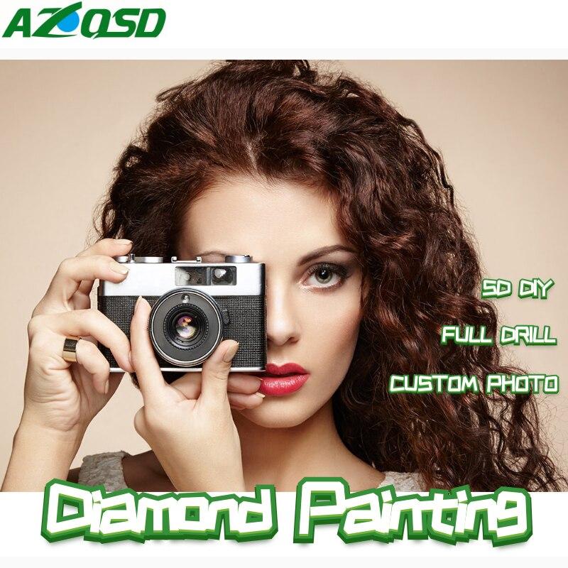 AZQSD Custom Diamond Painting 5D Photo Full Square&Round Picture Of Rhinestone Diamond Mosaic Home Decor Festival Gift Arts DIY