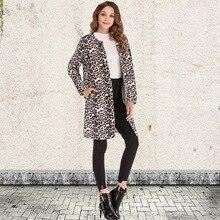 Leopard Women Outwear Fashion Print Club Party Casual Long Coat Turn-Down Collar Jacket Wide-Waisted Outwears Winter