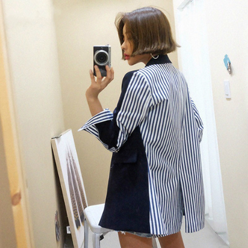 Nouveau Épissage À Manches Manteau Black Double Col Décontracté Shengpalae Pour down Fb700 Blazer Femmes Costume 2019 blue Longues Breasted Printemps Turn zwwqx56
