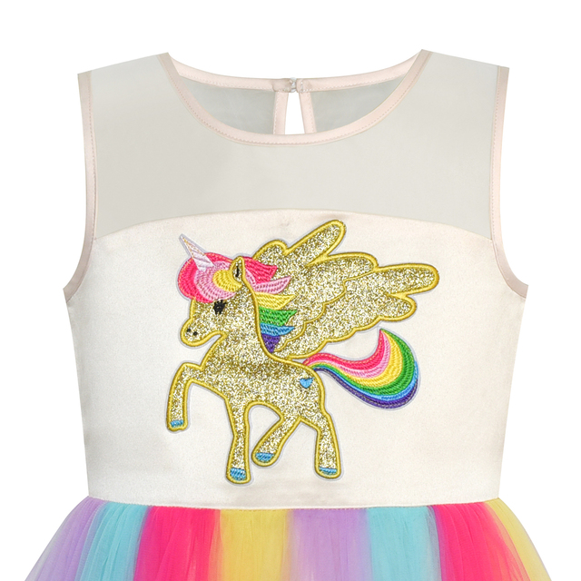 Embroidered Unicorn Rainbow Dress