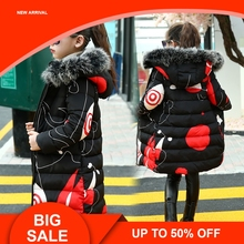 Children kids Jacket Russia Winter For Girls Thick  Down Kids Print Outerwears Cold -20 degree Warm Coat new