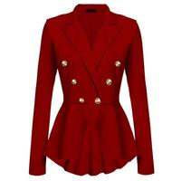 Women's Military Slim Fit Casual Smart Blazer Ladies Office Jacket Coat Suit