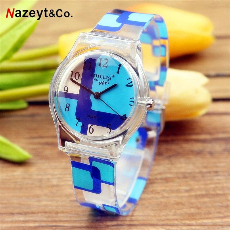 Free Shipping NAZEYT Rainbow Stripe Women MiNi Watches Resin Fashion Table Waterproof Ladies Girls Love Flower Cute Watches2019