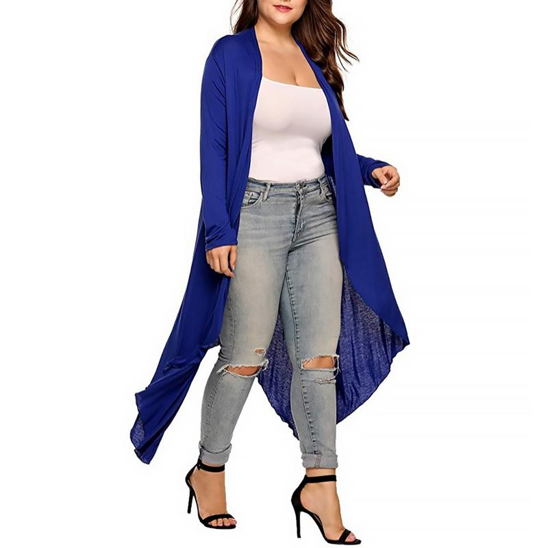 Autumn And Winter New Large Size Was Thin Women's Solid Color Milk Silk Long Sleeve Irregular Ladies Long Coat