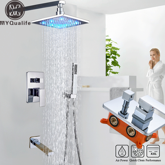 LED Light Shower Faucet Wall Mounted Rainfall Bath Shower Set Concealed Box Single Handle Shower Mixers with Handshower