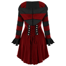 Wipalo Plus Size 2XL Hooded High Low Double Breasted Corset Coat Women Trench Ladies Tops Gothic Overcoat Lace Up Goth Clothing