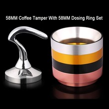 Stainless Steel 58MM Tamper Grinder Coffee Espresso Tool Alumnium Dosing Ring Set For Maker Parts